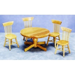 Kitchen Table & Chairs, Oak 5Pc/Cb