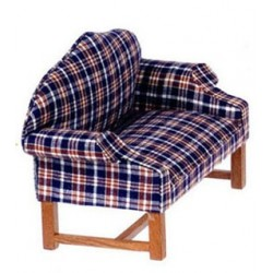 Dark Plaid Settee, Walnut