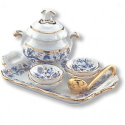 Gold Blue Onion Soup Set