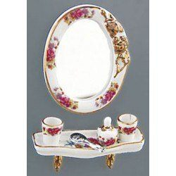 Dresdon Rose Bath Mirror Set