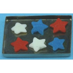 Red White & Blue Cookies On Baking Sheet