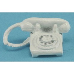 Table Phone Rotary Dial White
