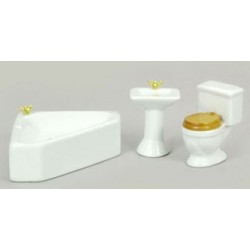 Corner Bath Set, White, 3pc