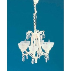 Contemporary Crystal Drop Chandelier Ivory