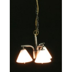 Modern Chandelier W 3 Down Shade Pewter