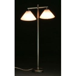 Modern Floor Lamp W 2 Down Shade Pewter