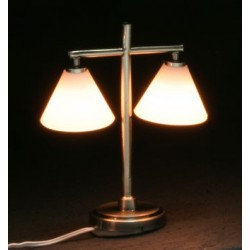 Modern Table Lamp W 2 Down Shade Pewter