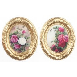 Gold Oval Frames Flowers 2