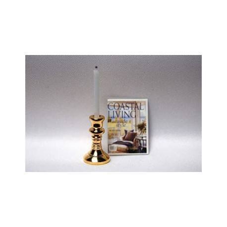 Brass Candlestick W Candle