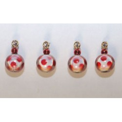 (4) Lg Red White Glass Ornaments