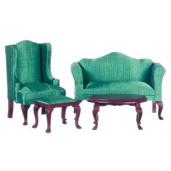 Mahogany/Green Queen Anne Living Room Set/4pc