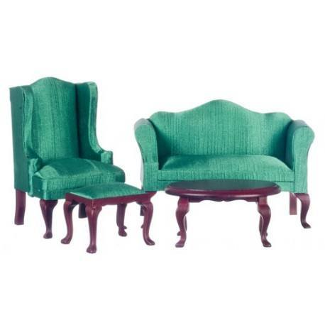 Mahogany/Green Queen Anne Living Room Set/4pc Part 52