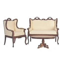 Madame Curie Living Room Set/3 in Walnut or Creme