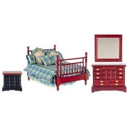 Country Time Double Bed Set/4/Mahogany
