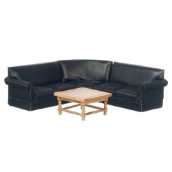 Corner Sofa Set/blk/oak