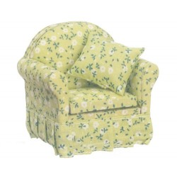 Chair w/green Floral Fab.