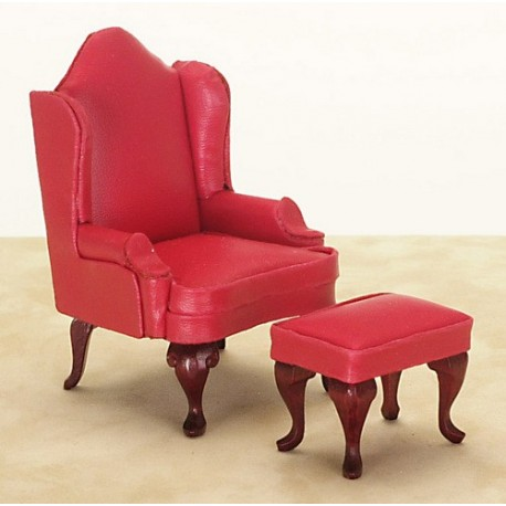 Wing Chair/ottoman Red