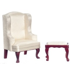 Queen Anne Wing Chair/stool/wh/m