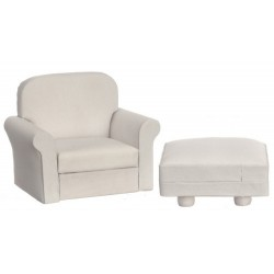 Chair/ottoman/white