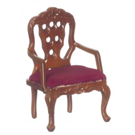 Carved Back Armchair/rd/