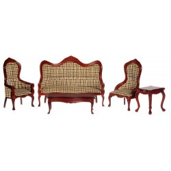 Victorian Living Room Set/set/5/plaid/m