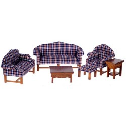 Dark Plaid Living Room Set/6/