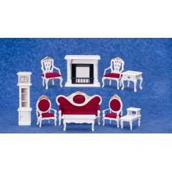 White-10 Pc Living Rm-Red Fabr