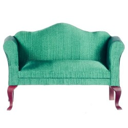 Queen Anne Loveseat/green/Mahogany