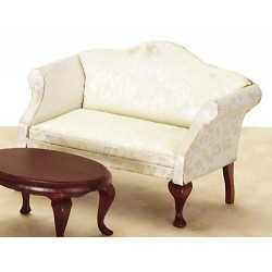 Queen Anne Loveseat/white/Mahogany