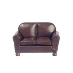 New Brown Leather Loveseat