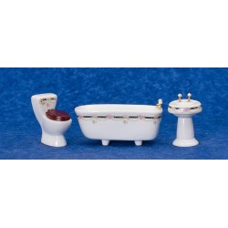 Blk/pk Border Bath Set