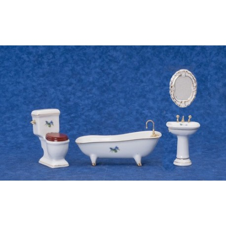 Porc.bath Set/4/w/flwr