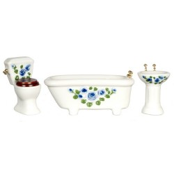 Blue Floral Bath Set/3
