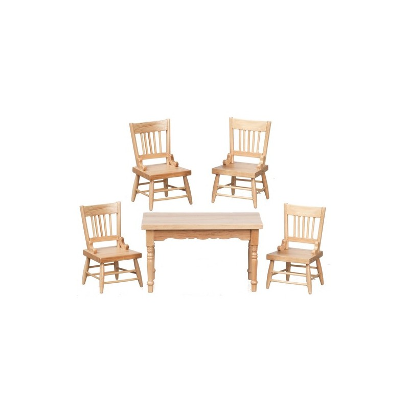 Table chairs set 5 oak cb dollhouse dining room sets superior dollhouse miniatures - Dollhouse dining room furniture ...