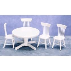 Dollhouse Dining Room Furniture Table W4 Chairswhite