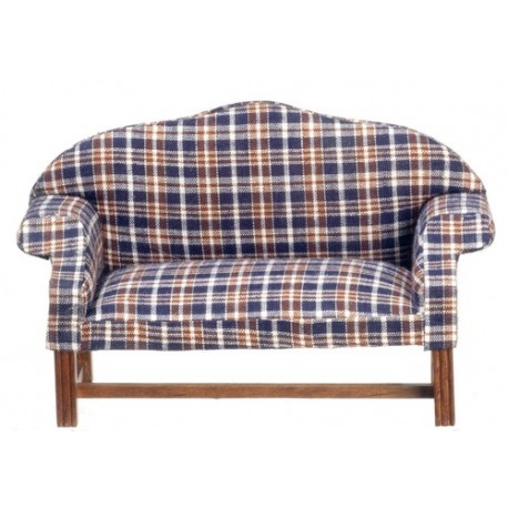 Dark Plaid Settee/Walnut