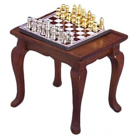 Chess Table & Set/waln/cb