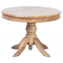 Dining Room Table Round Pedestal in Oak ~ T4259 Dollhouse Miniature Kitchen