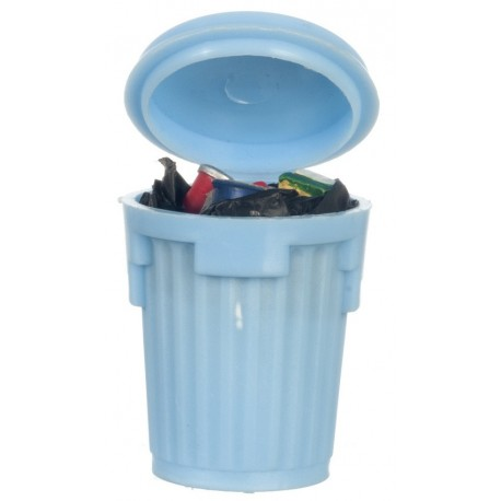 Blue Garbage Can/filled
