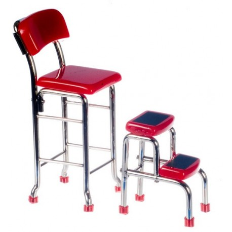 Kitchen Stool w/steps/red