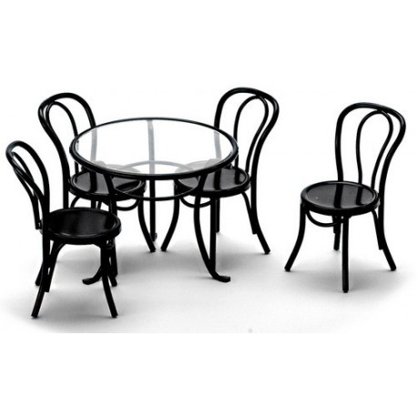 Patio Table 4 Chairs Blac Dollhouse Outdoor Furniture Sets