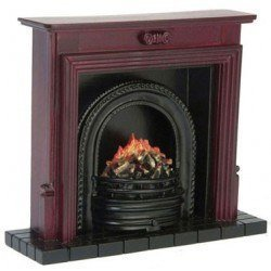 Fireplace with Insert, Mahogany