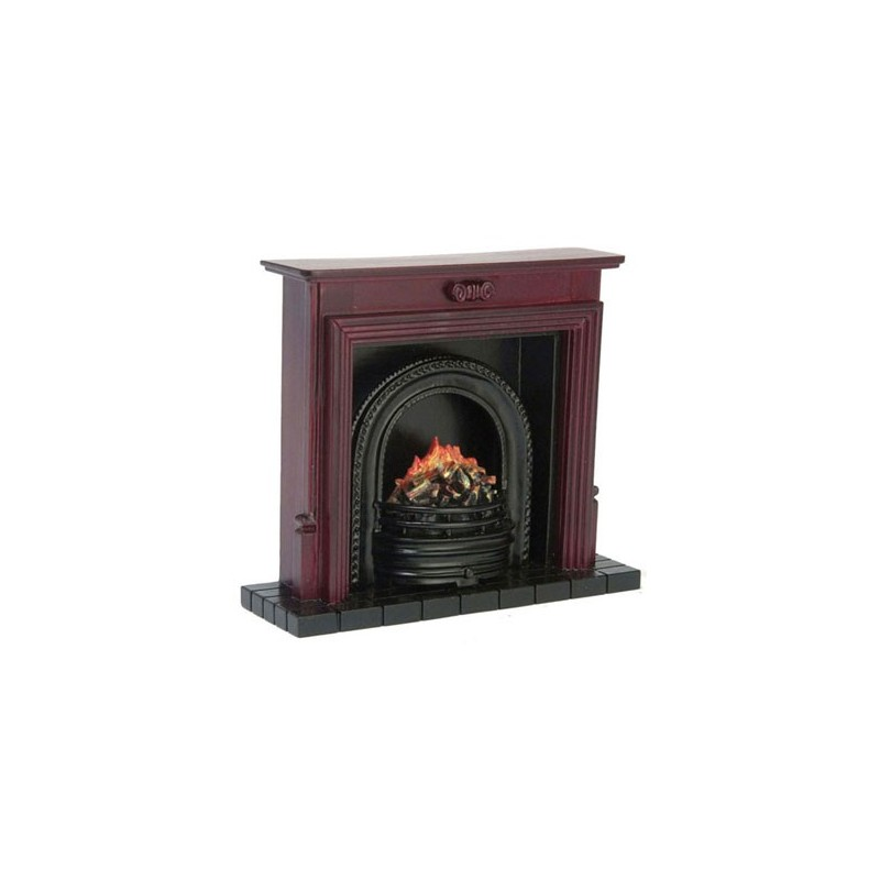 Fireplace With Insert Mahogany Dollhouse Miniature