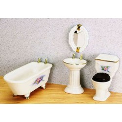 Bathroom Set  4Pc  W/Flowers
