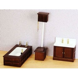 Vict Bath Set/3  Walnut
