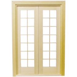 Double french door dollhouse doors superior dollhouse for Double hung exterior french doors