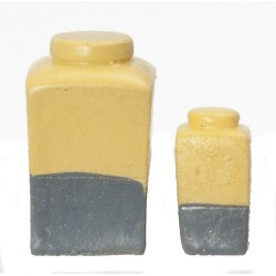 Resin Yellow/gry Jars/2pc