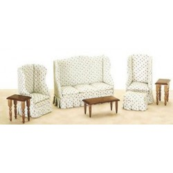 Living Room Set 7Pc  Flower Print
