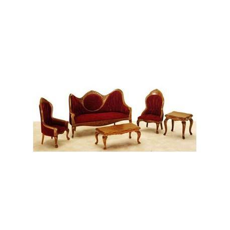 Living Room Set, 5pc, Red, Victorian