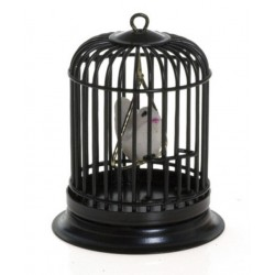 Birdcage w/bird/black